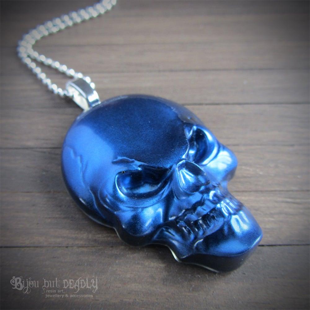 Metallic Blue  Resin Skull Pendant