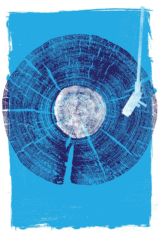 Image of Nature Sounds - Vinyl Record Wood Texture Screenprint