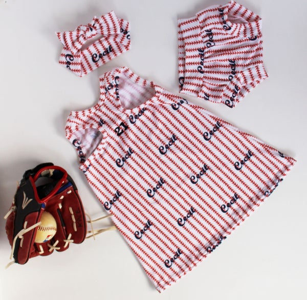 Image of Pinstripe Stitch Custom Baseball Tank Dress and Bloomers