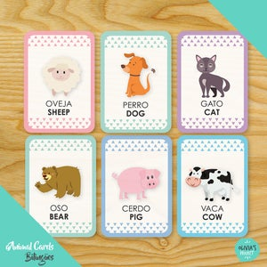 Image of Animals Cards  Bilingües
