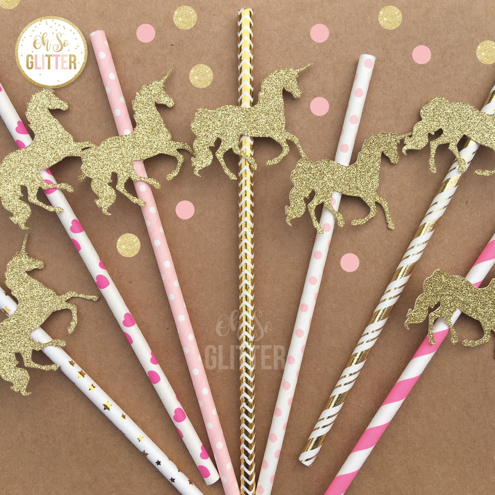 Image of Unicorn Straws - Gold and Pink