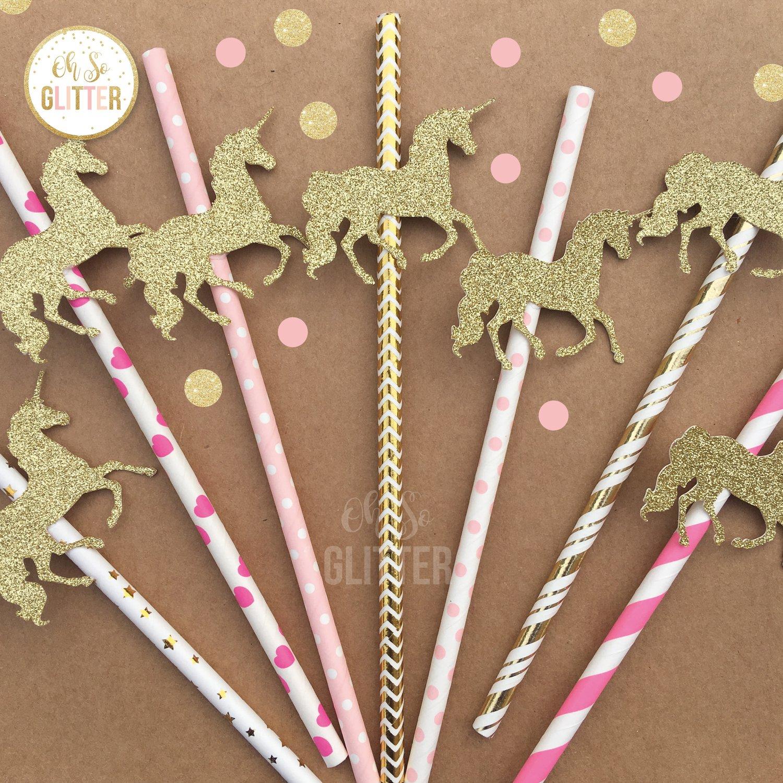 Image of Unicorn Straws - Gold and Pink