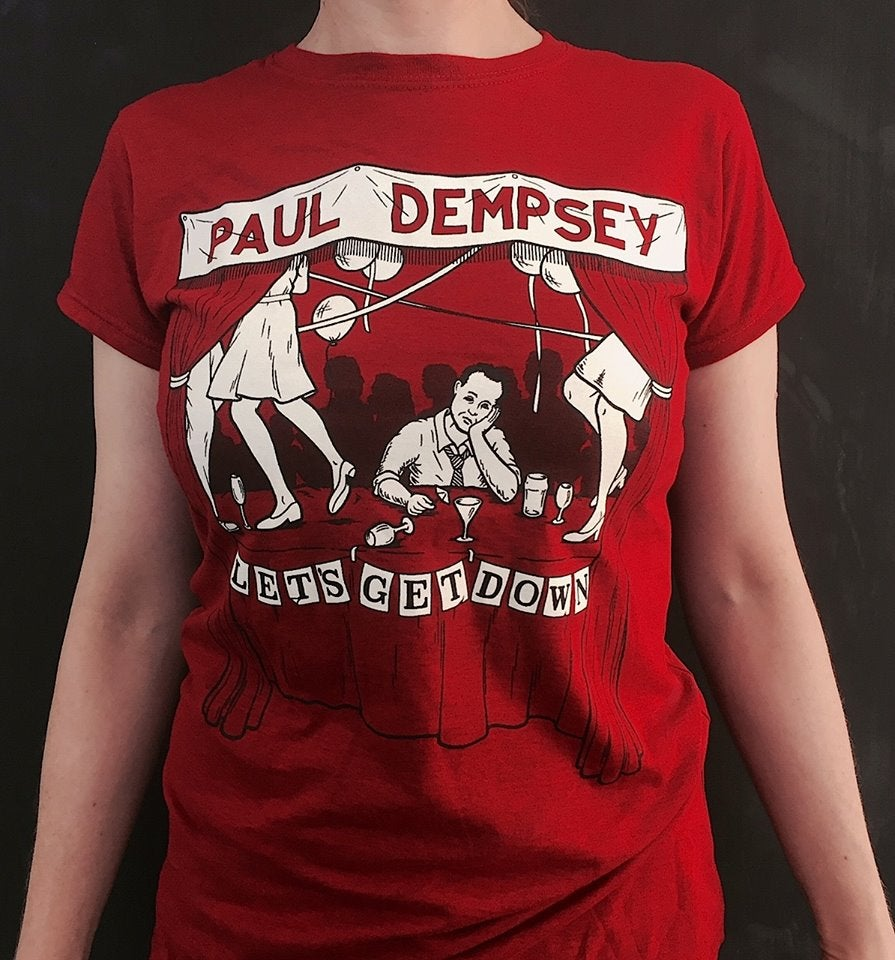 Image of Paul Dempsey 'Lets Get Down' Tee - Marle Grey/Red/Antique Red