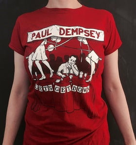 Image of Paul Dempsey 'Lets Get Down' Tee - Marle Grey/Red/Antique Red - CLICK TO VIEW