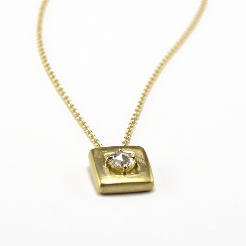 Image of Soft Square Pendant Rosecut Diamond Solitaire