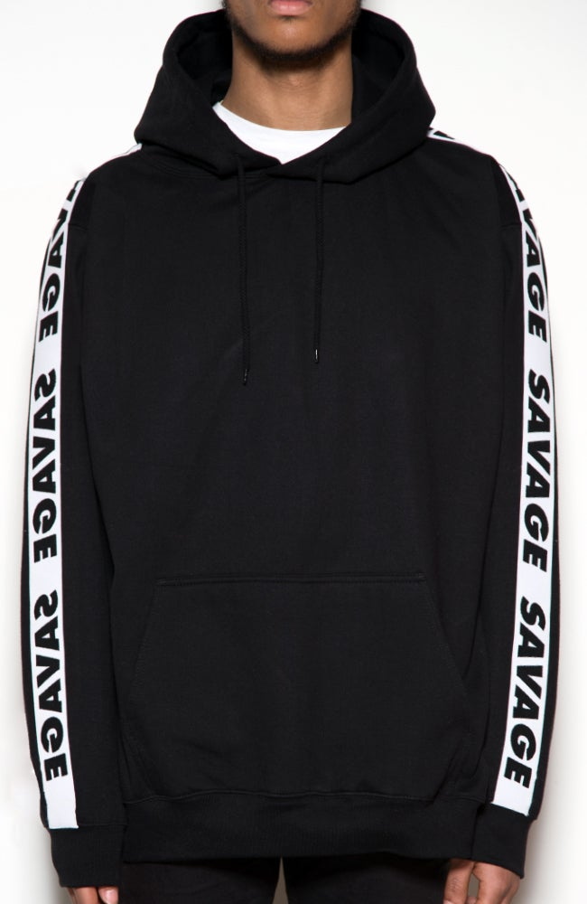 Image of Savage 90's vibes Hoodie Black/Black