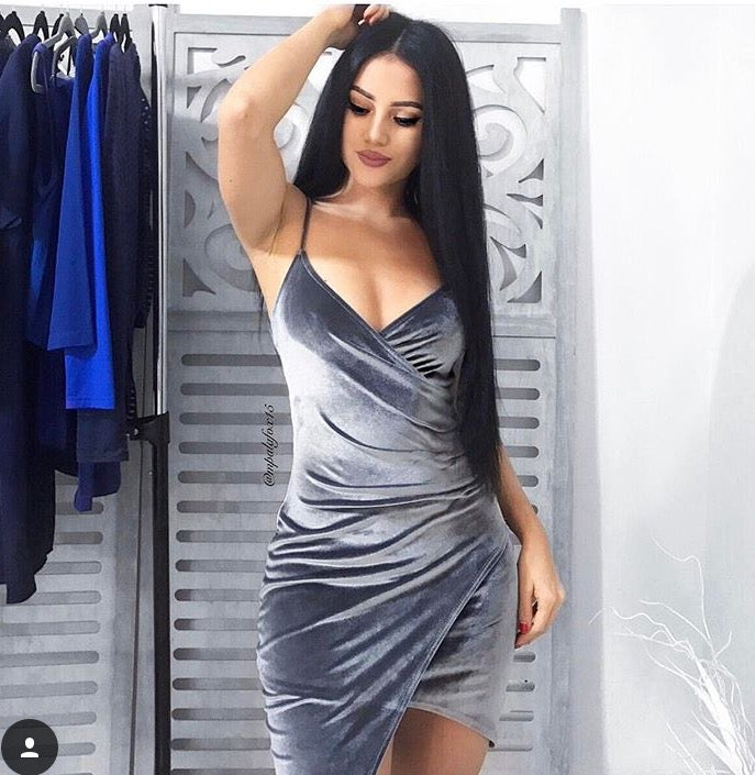 Image of Grey velvet dress