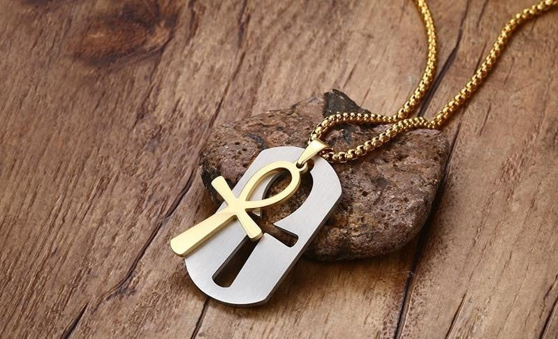 Image of Removable Ankh Cross Pendant w Necklace