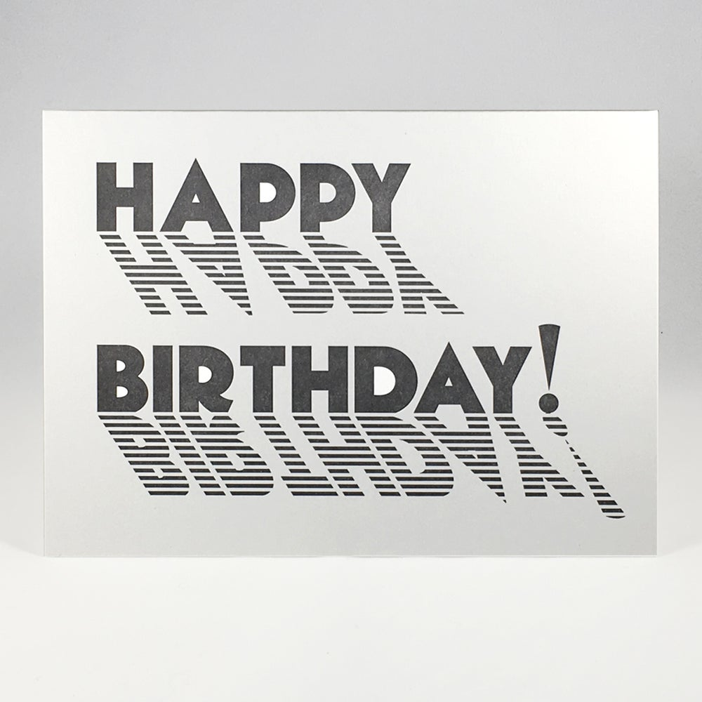 Image of HAPPY BIRTHDAY! (black and white stripes)