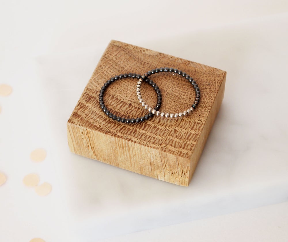 Image of Black And White Stacking Rings
