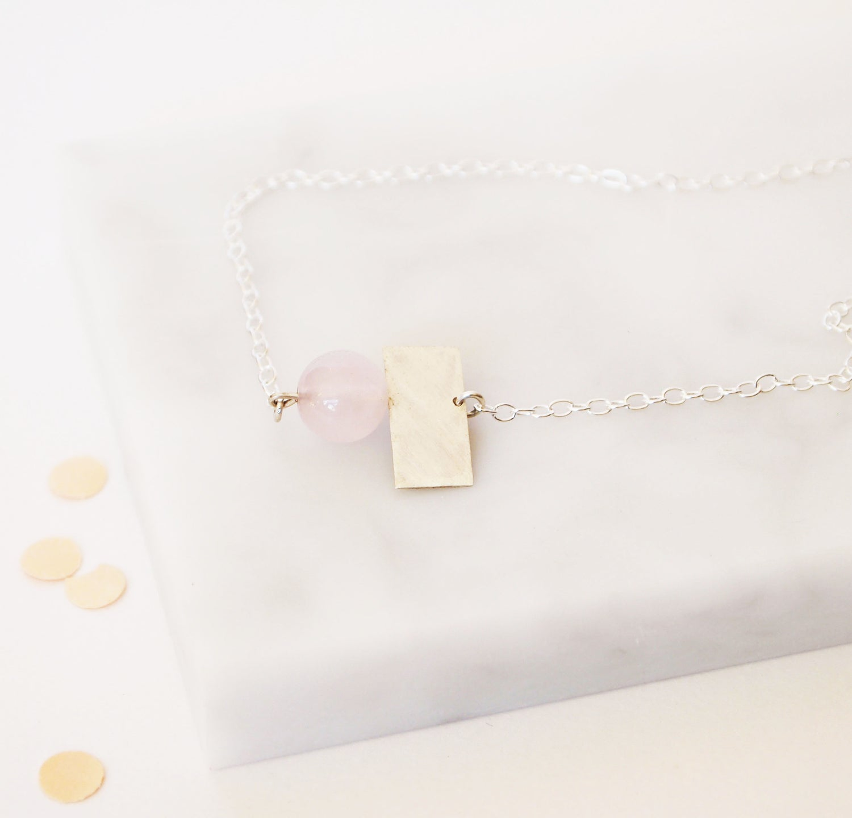 Image of Quartz And Square Necklace