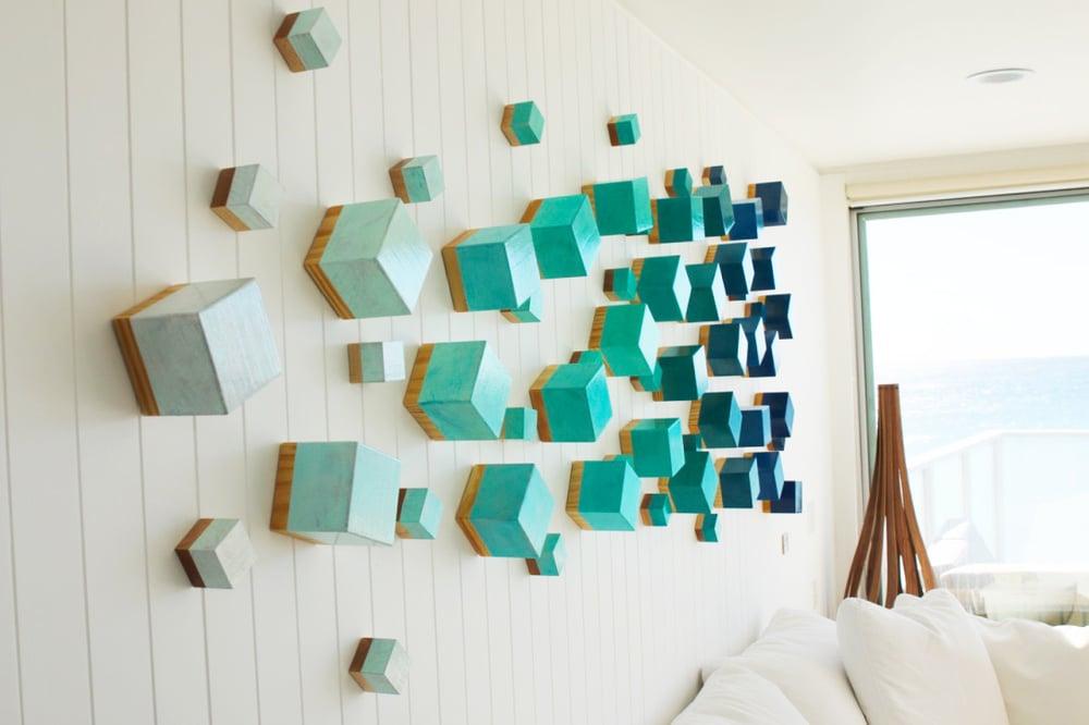 Image of 'OCEAN BREEZE CUBED' | Wood Wall Sculpture | Modern Wall Decor | 3D Wall Art | Original Art