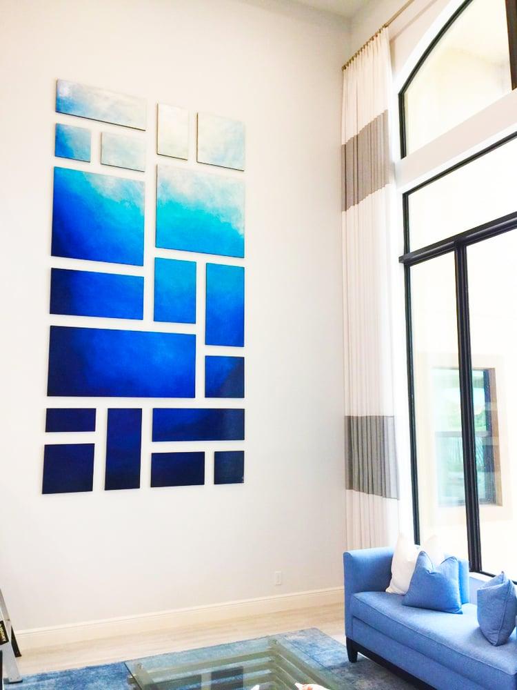 Image of 'MEMORIES OF SANTORINI' | Abstract Wall Art | Wood Wall Art | Modern Wall Decor