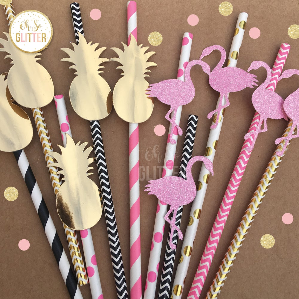 Image of Flamingo and Pineapple Straws