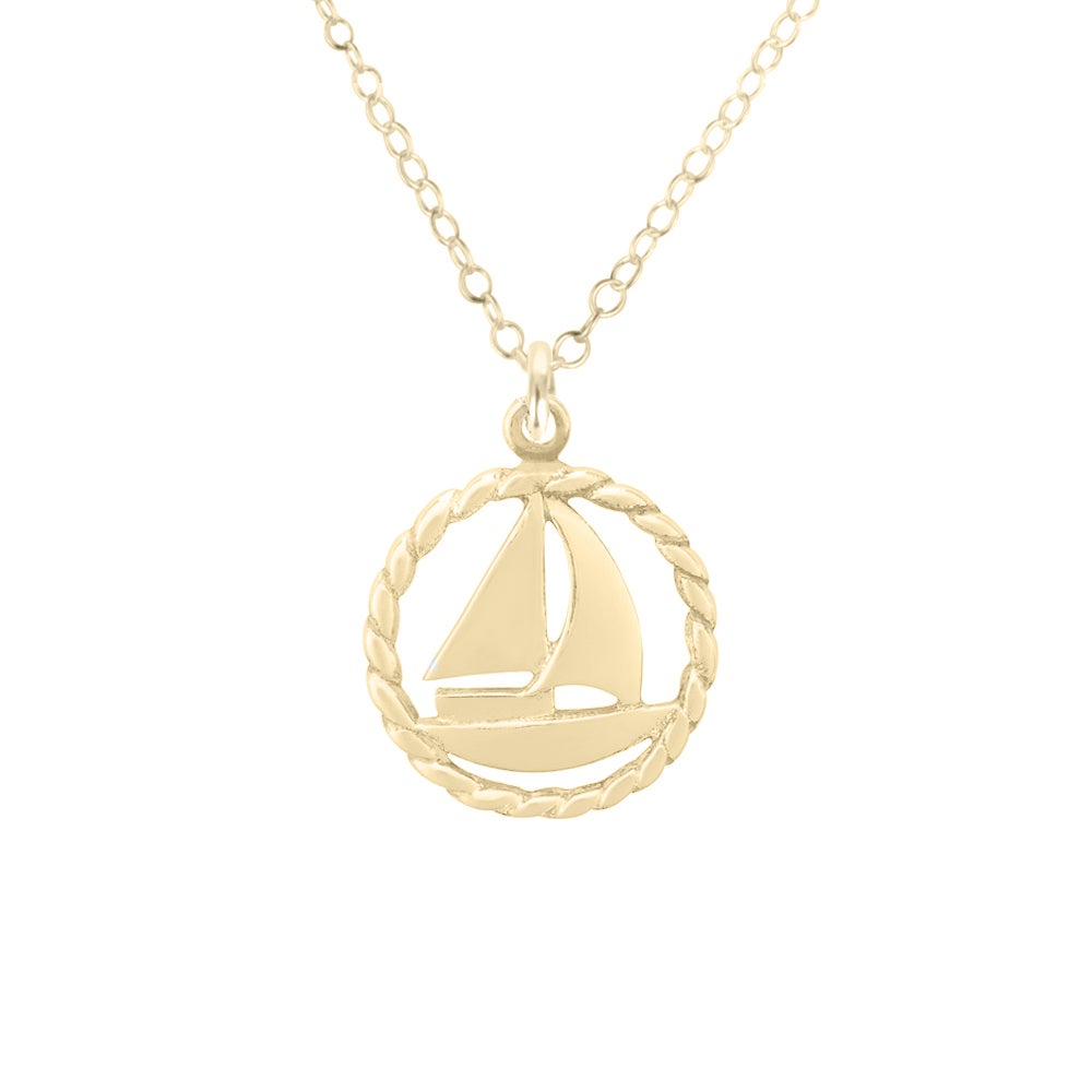 Image of Nautical Sailboat Necklace in Gold