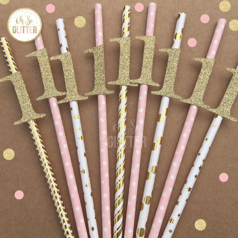 Image of Number 1 straws - Blush and Gold