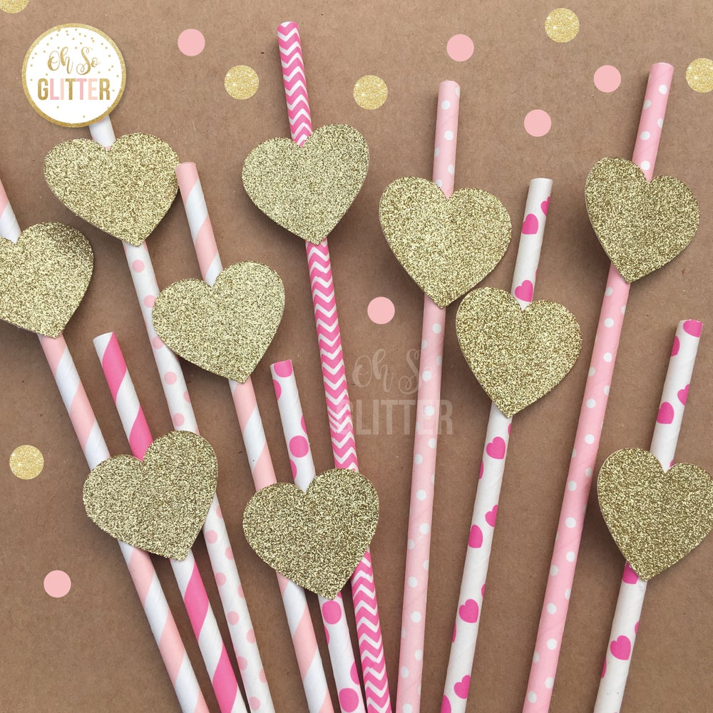 Image of Heart straws - Pink and Gold