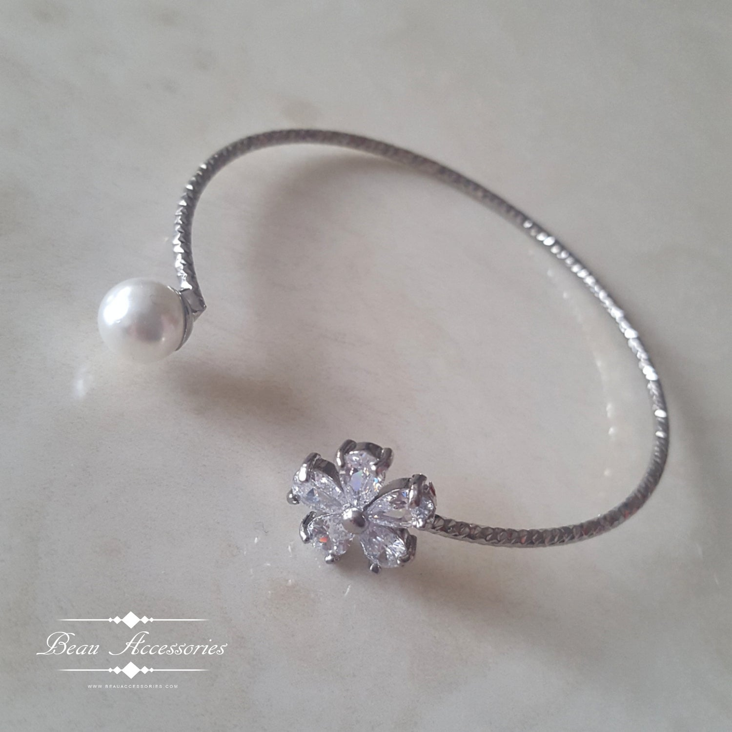 Image of Silver Pearl Crystal Bangle
