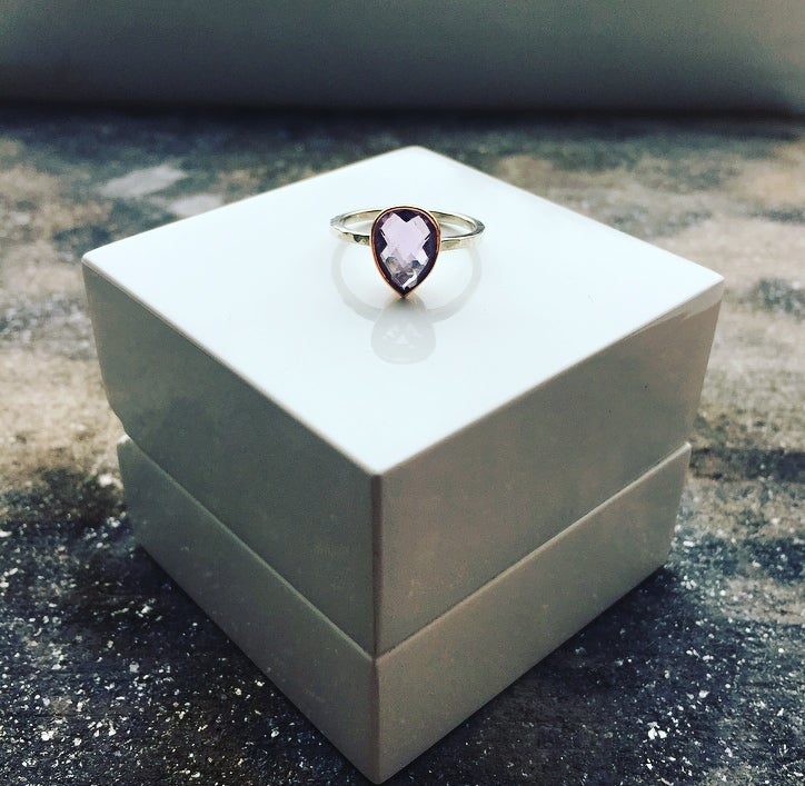 Image of 9ct Rose Gold and Silver Ring set with a Pear Shape Cut Amethyst