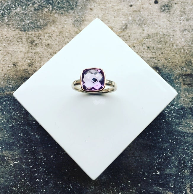 Image of 9ct Rose Gold and Silver Ring set with a 10mm Cushion Shaped Amethyst