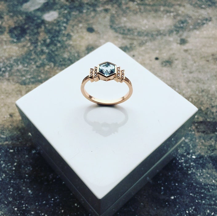 Image of 9ct Rose Gold Aquamarine and Diamond Art Deco Style Ring