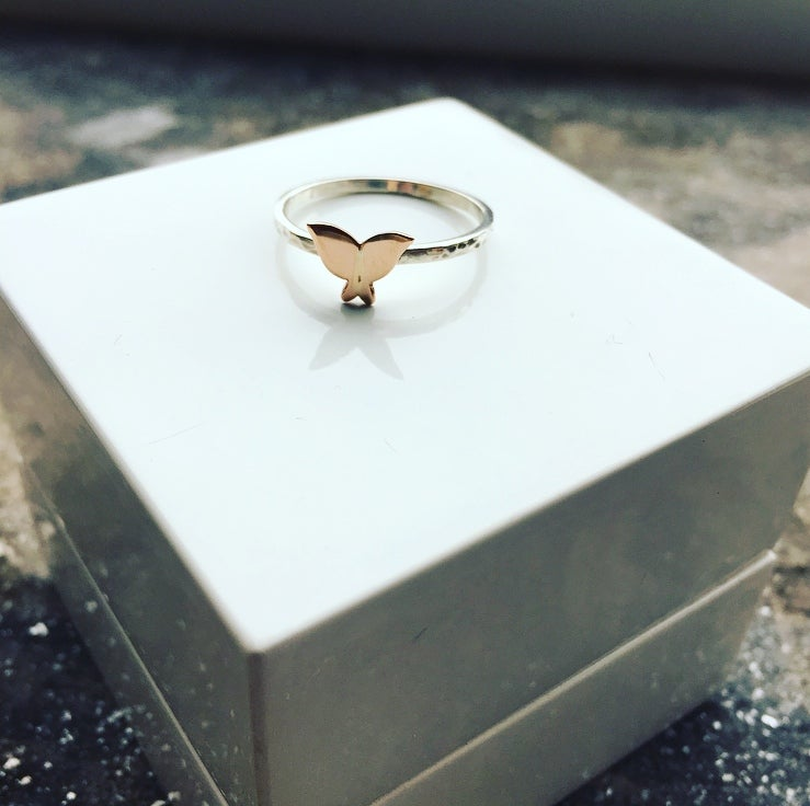 Image of 9ct Rose gold and Silver Butterfly Ring