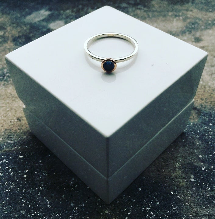 Image of Silver and 9ct Rose Gold Aquamarine Ring