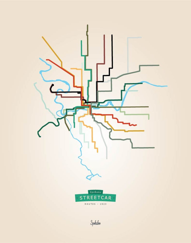 Image of Spokane Streetcar Map Print