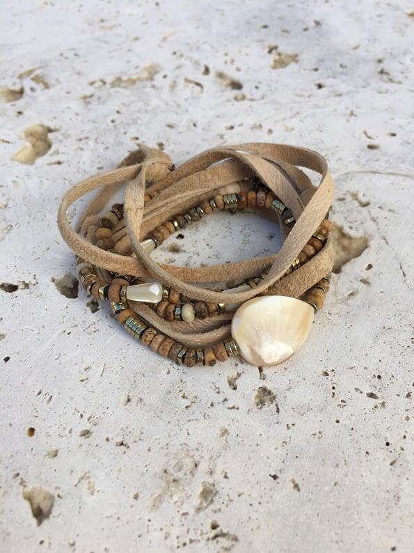 Image of Bracelet collier cuir 5 tours WILD