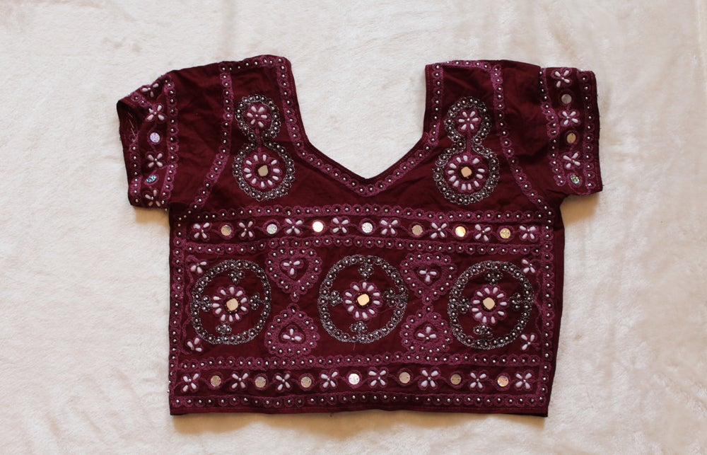 Image of Burgundy Embellished Crop Top
