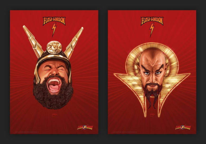 Image of Ming the Merciless and Prince Vultan A3 (officially licensed prints)