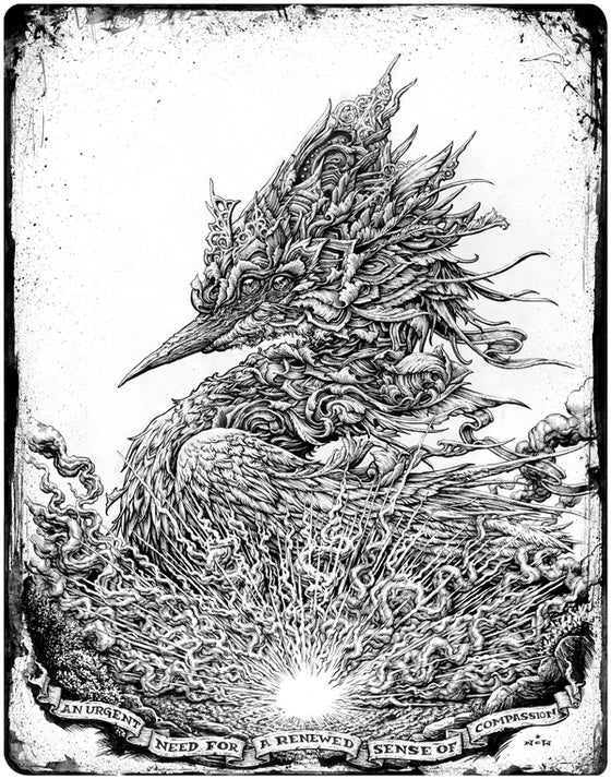"Image of ""Urgent Need"" original bird inks"