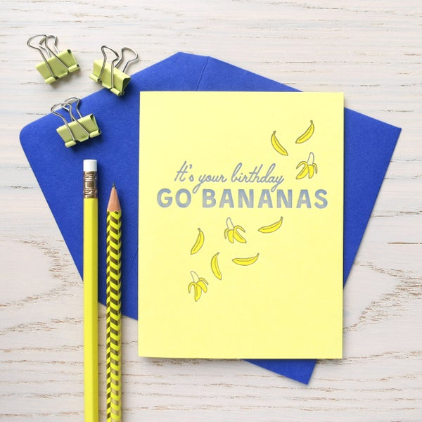 Image of birthday bananas letterpress card