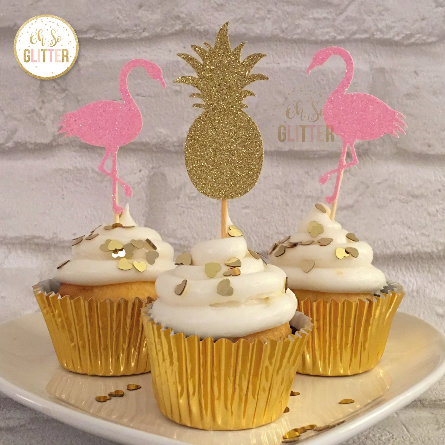 Image of Flamingo and pineapple cupcake toppers