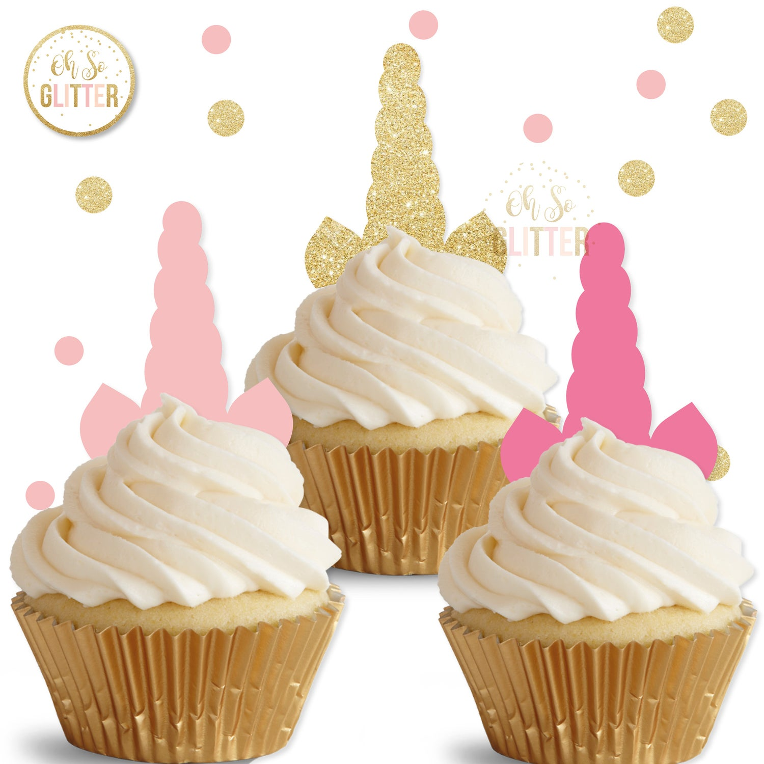 Image of Unicorn Horn cupcake toppers