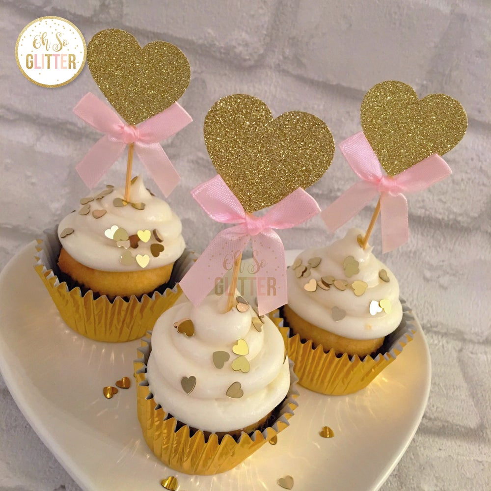 Image of Heart cupcake toppers