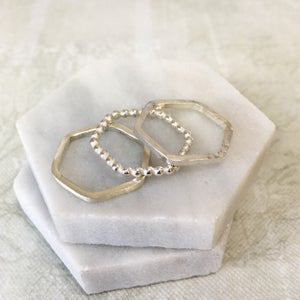 Image of Silver Hexagon Stacking Rings