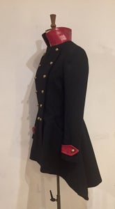 Image of Leather and tweed commander coat