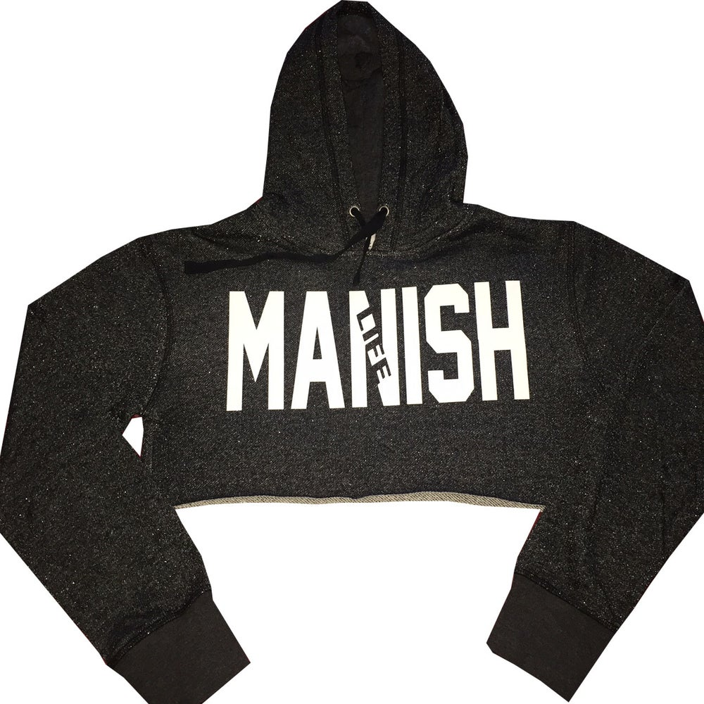 Image of MANISH Life Glitter Crop Top Hoodie