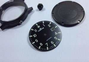 Image of FORTIS FLIEGER GENTS COMPLETE WATCH CASE ALL BLACK CASE/DIAL.