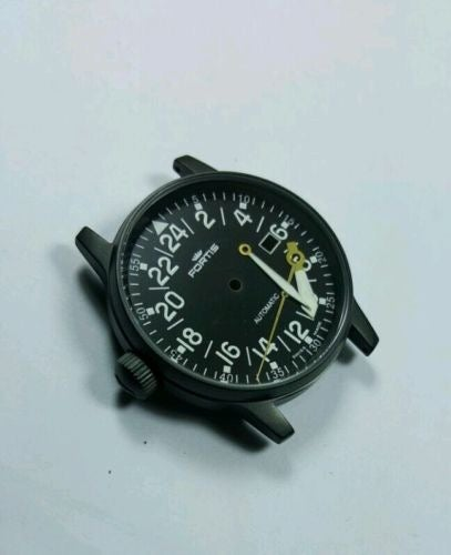 Image of FORTIS FLIEGER GENTS WATCH, COMPLETE BLACK CASE,NEW(BLACK DIAL) 24 HOUR NUMERAL