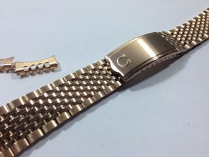 Image of BEAUTIFUL OMEGA PINK /ROSE GOLD PLATED GENTS WATCH STRAP,CURVED ENDS,18MM.RICE BEAD