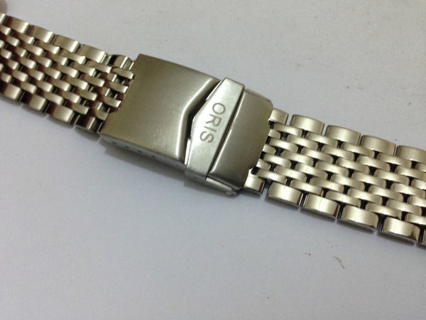 Image of NEW ORIS SPORTS STAINLESS STEEL GENTS WATCH STRAP,CURVED LUG ENDS,22MM,(ORIS-18)