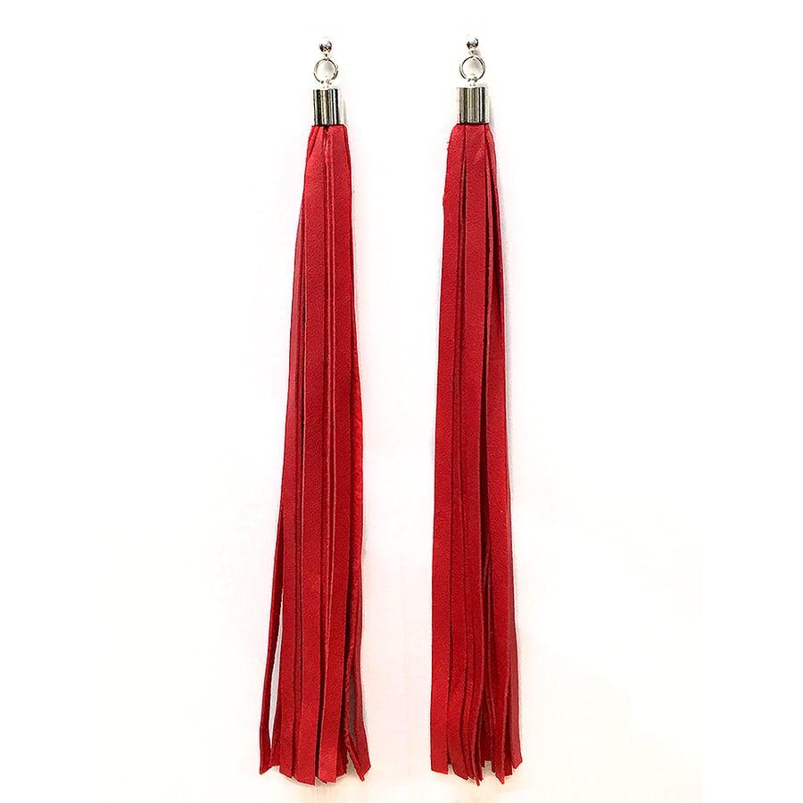 "Image of ""FLOW"" Long Red Leather Tassel Earrings"