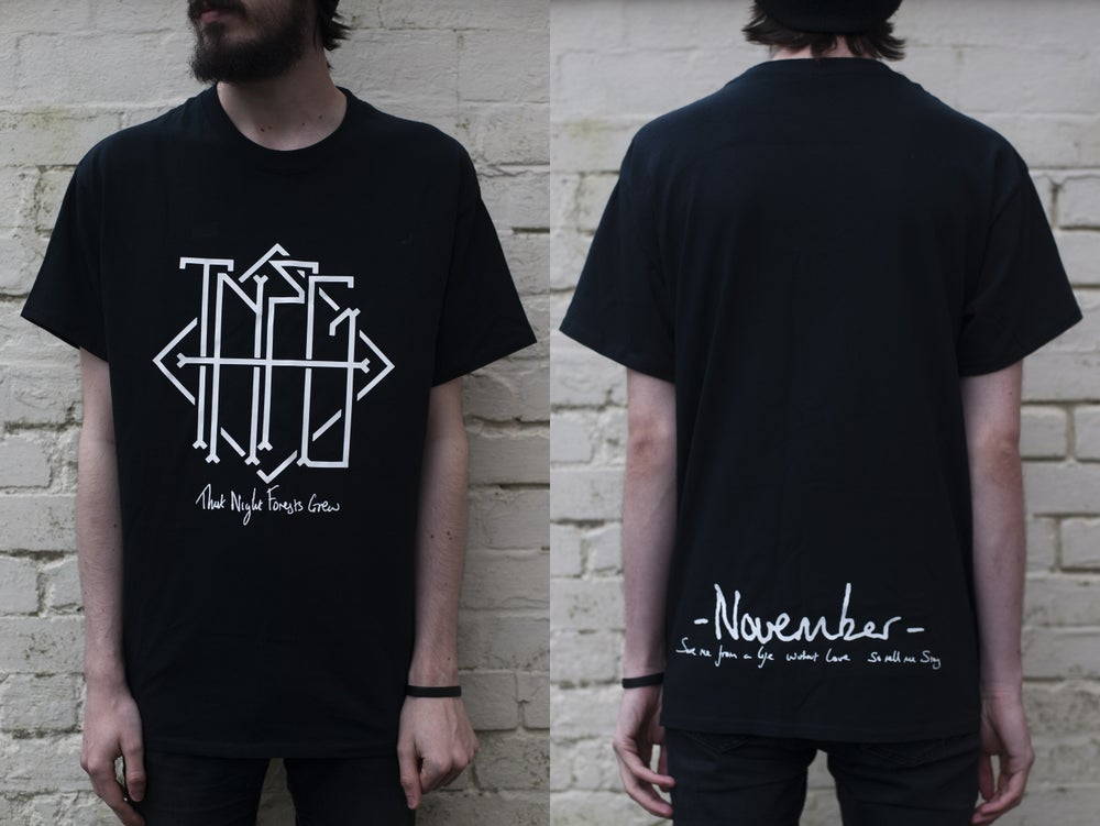 "Image of ""November"" Haiku Pocket/Back Print T-Shirt (Black) - Limited to 15"