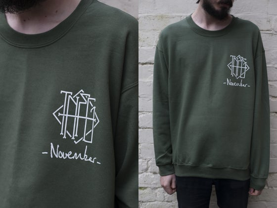 "Image of ""November"" Pocket Print Crewneck (Khaki Green) - Limited to 15"