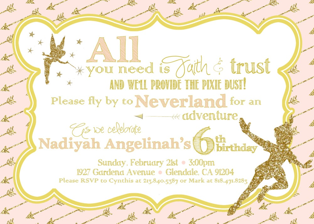 Image of Peter Pan themed Birthday Party Invitation- pink & gold, glitter, Tinkerbell, fairy dust