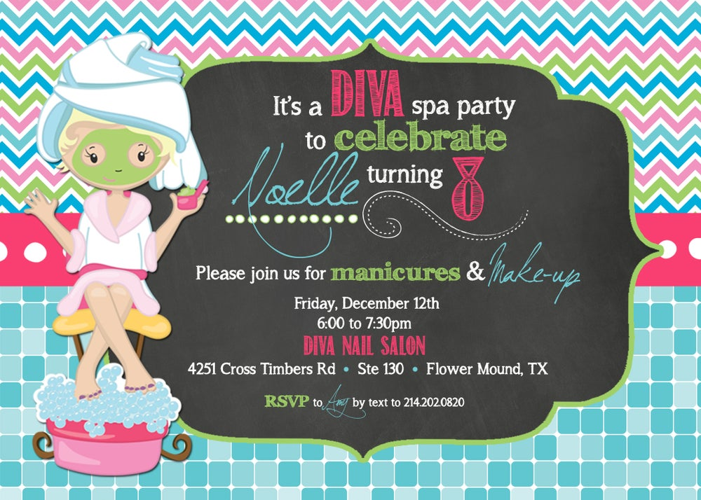Image of Spa Birthday Party Invitation- Chalkboard- mani-pedi, make-up, little girls
