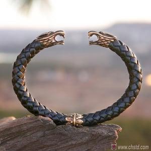 Image of Leather Torc Bracelet / Wolfs / Black