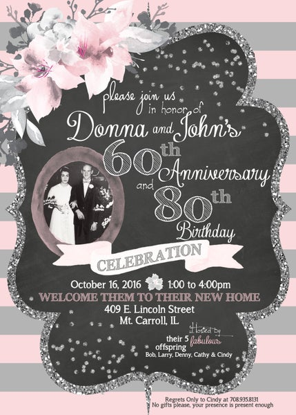 Image of Pink, Gray & Silver Glitter Anniversary and/or Birthday Celebration Invitation